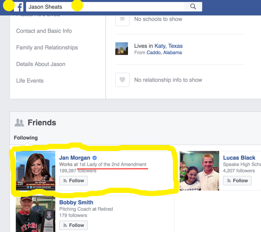 "Jason Sheats' Facebook profile where he follows ""The 1st Lady of the 2nd Amendment"""
