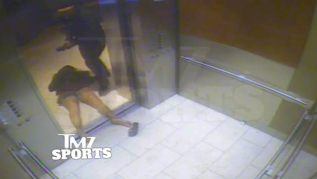 Rice caught on tape slapping and then right hooking Janay Rice, who falls into a railing rendering her u nconscious. Ray drags her around on the floor, steps over her limp body. Lifts and drops her in the hallway, onto her face. The first released images only showed this unconscious body and not the abuse caught on tape.