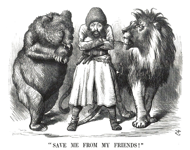 Drawn in 1878, what did the Bear and the Lion Represent? Russia and Britain respectively.