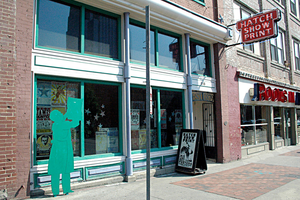 Hatch Show Print's storefront at their previous location on Lower Broadway in downtown Nashville, TN.