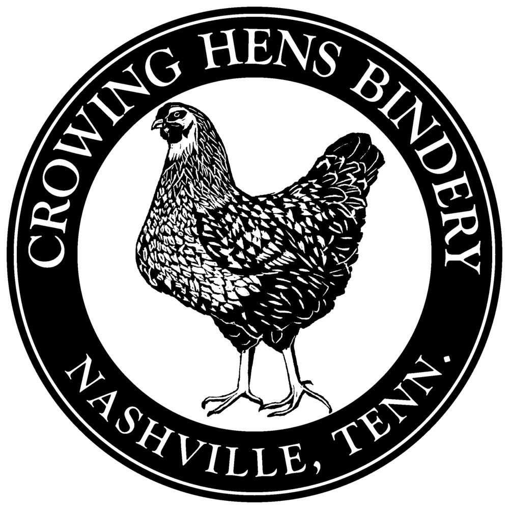 One of 2 new logos for Crowing Hens Bindery.