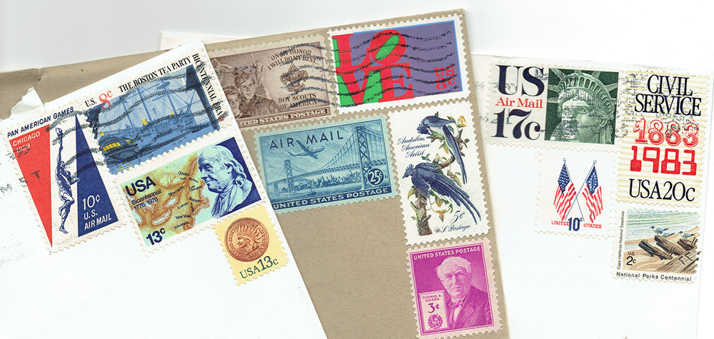 Vintage stamps are an elegant way to make your snail mail correspondence even more personal and memorable. By combining vintage stamps into a postage mosaic on an envelope I can create personalized pieces of historic art imbued with secret meanings tailored to each pen pal.