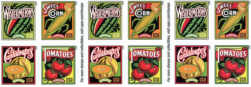 Not only are stamps great for that resolution for writing more letters, they're also a great reminder for all of those fruits and vegetables you said you'd eat more of this year.