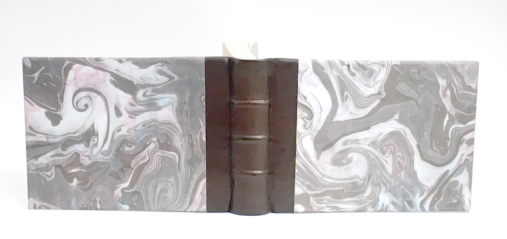 Quarter leather marbled journal