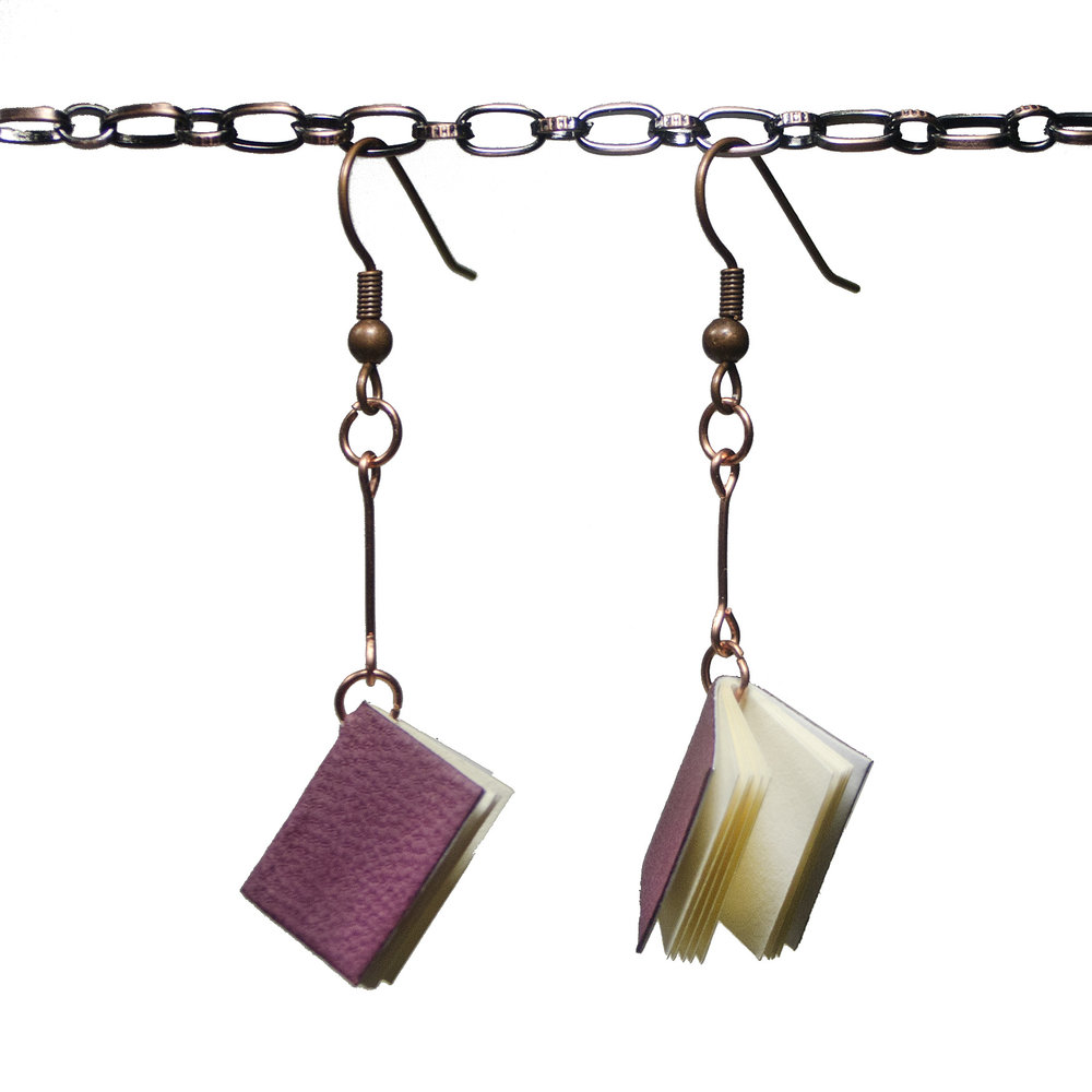 Handmade Leather Book Earrings