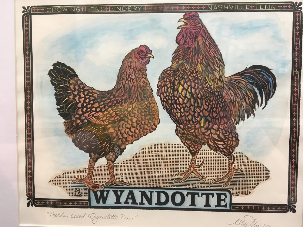 """Golden Laced Wyandotte"", a one of a kind hand colored version of my ""Wyandotte"" carving is among 6 of my limited edition print submissions to HATCH-ed Print Show. The original uncolored version of this print is available in my online store, and additional hand colored prints are forthcoming."