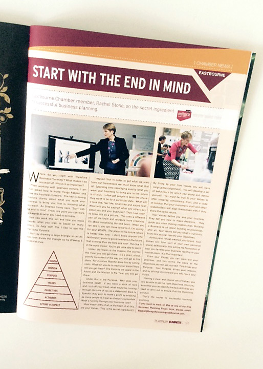 Rachel's feature Platinum Business magazine