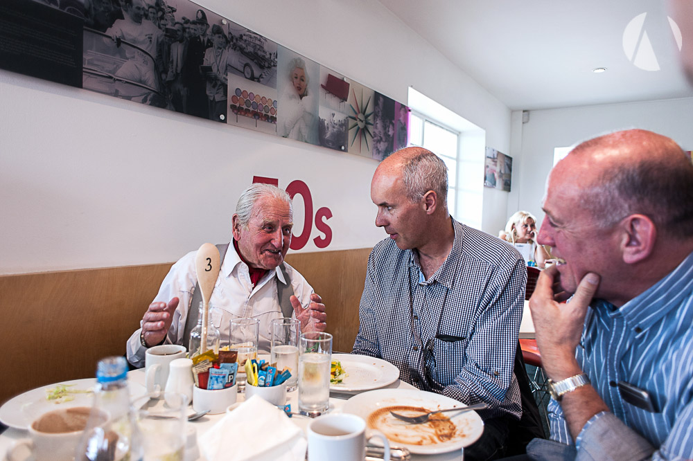 Lunch with Norman Dewis OBE and Peter Leake for Kevin St Wilfrid's auction prize winner