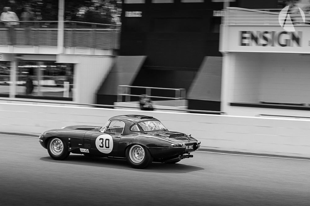 Full bore Jaguar E-Type blasting Goodwood race circuit