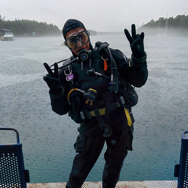 Staying dry in my drysuit while diving in Tobermory, Canada