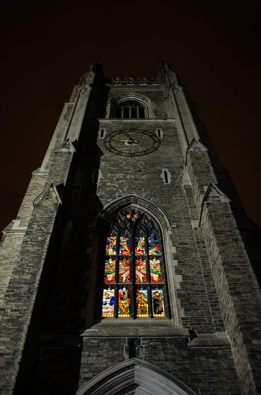 "The twelve-panel stain glass window dedicated in 1995 is based off John McCrae's popular poem ""In Flanders Fields"""