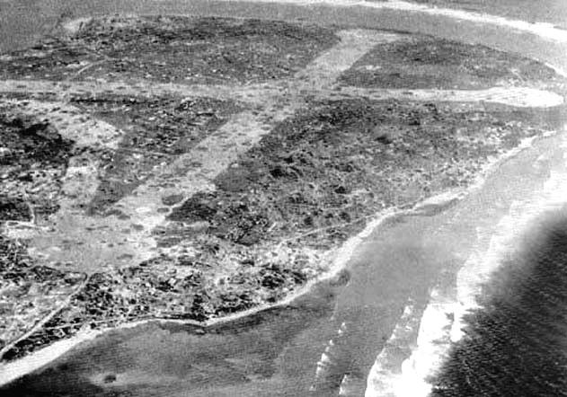 Aerial photograph of Taroa Island taken during an American bombing run