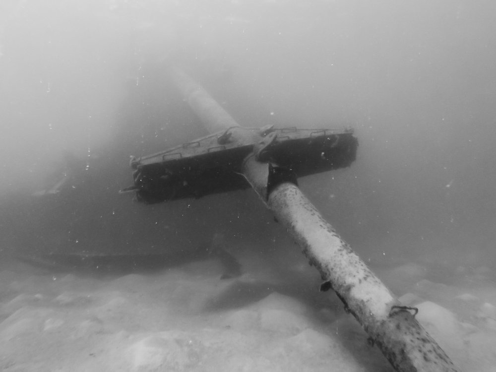 The other service mast has fallen in the past two decades as a result of the shipwreck slowly decaying over time