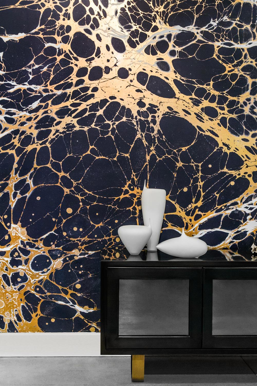 Calico wallpaper white arrow - Papier peint faux marbre ...