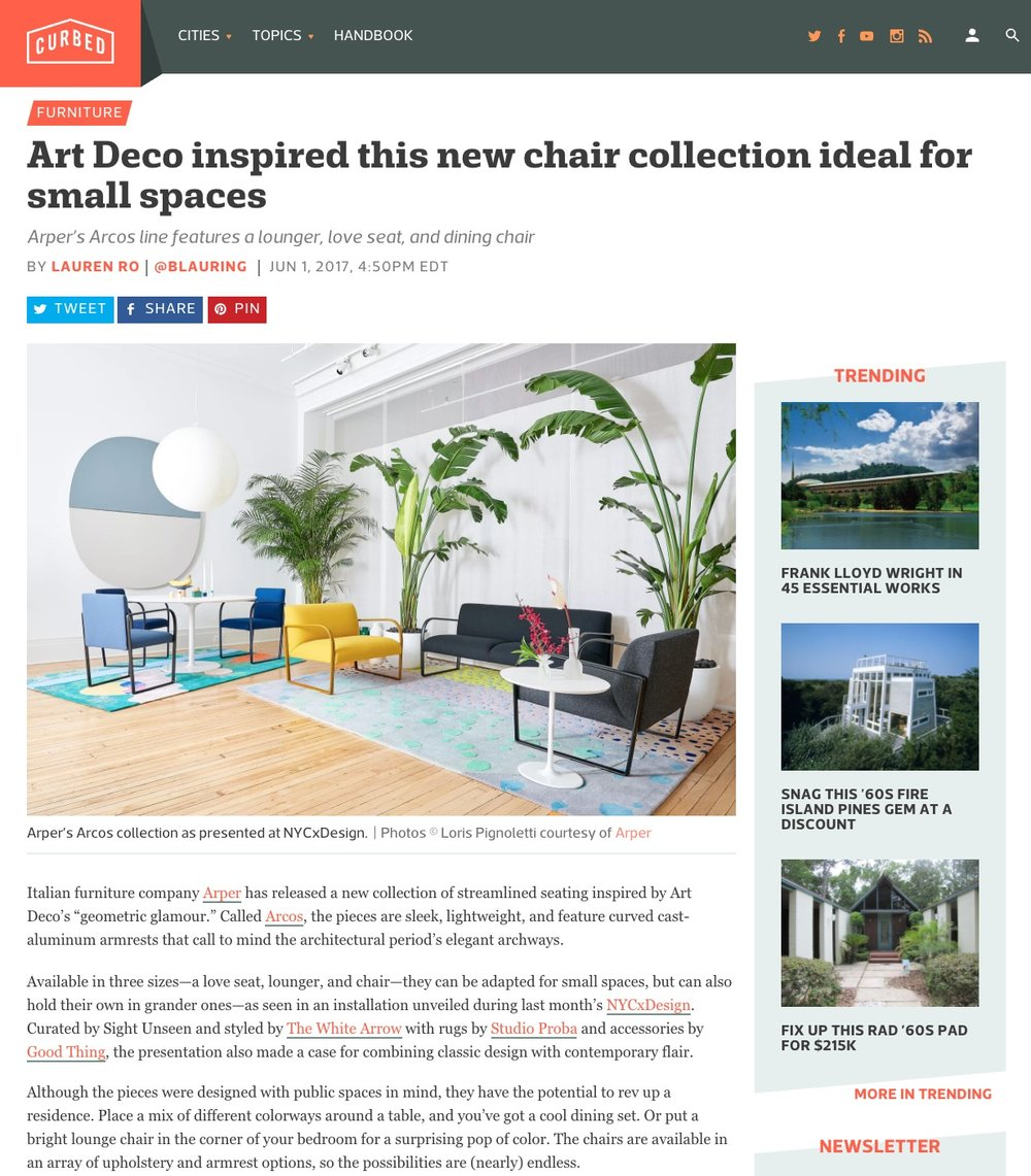 Project: Sight Unseen X Arper / Link To Article