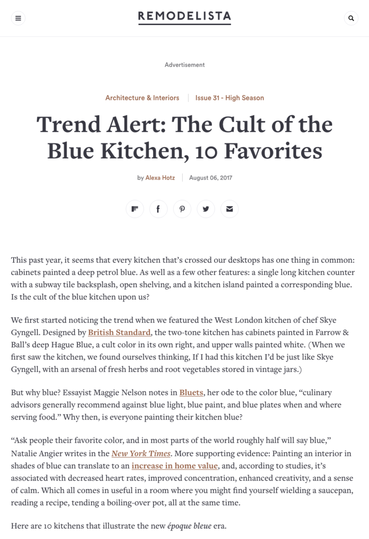 Remodelista: The Cult of the Blue Kitchen, 10 Favorites — WHITE ARROW