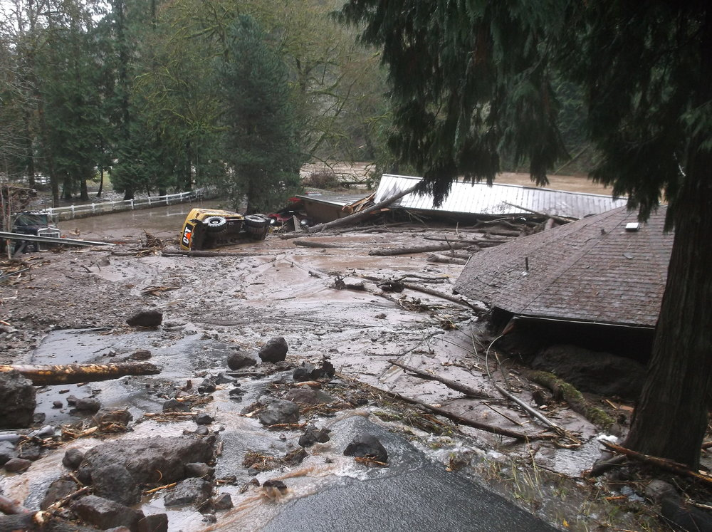 Equipment from the emergency response team was caught up in the severe damage from landslide debris flow in Cowlitz County, Washington