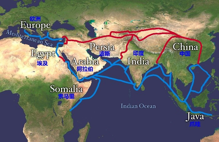 A simplified picture of Silk Roads [1] .  Red Color: Land Silk Road  Blue Color: Maritime Silk Road