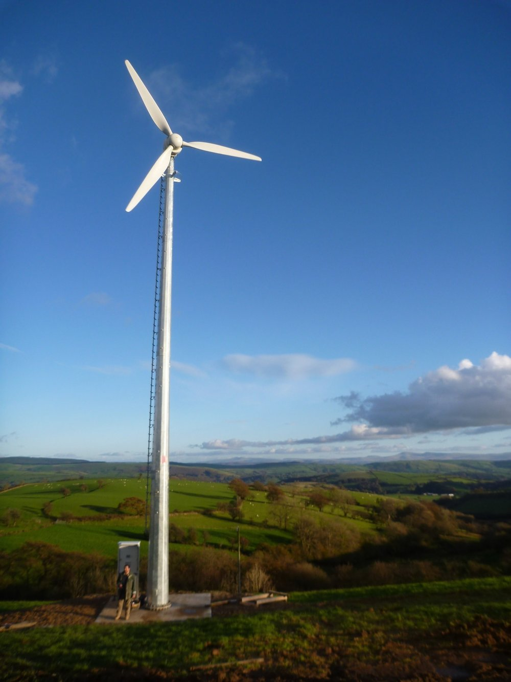 Wind Power - Design, planning, installation, repair and maintenance of small to medium scale wind turbines. Photo is of an Aircon 10 near Lampeter in Wales, one of a dozen or so we installed in around 2016. We also installed numerous Evance r9000 (now Britwind) wind turbines.