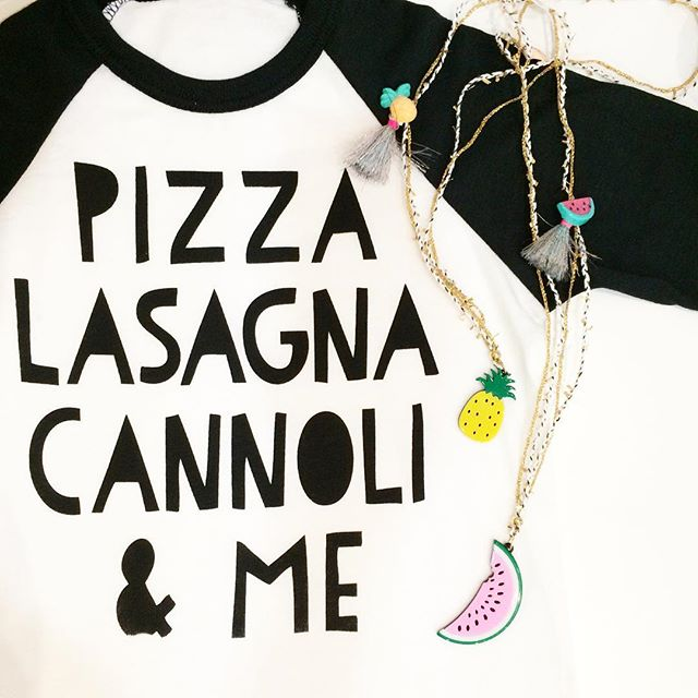✨ Pizza Lasagna Cannoli ✨ the classic Italian favorites! So hard to pick a favorite, which is yours? 😋Necklaces by @ooahooah