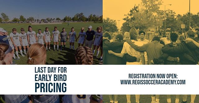 TODAY IS THE LAST DAY FOR EARLY BIRD PRICING. Link in the bio . . #RSA2019 . . ————— . #youthsoccer #soccer #football #adidas #youthfootball #soccertraining #skills #soccerlife #soccerskills #futbol  #regissoccer #tekkers #youthsports #regisrangers #training #soccercamp #soccermom #soccercoach #photooftheday #fifa #worldcup