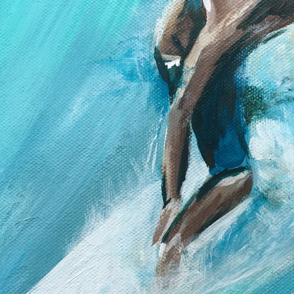 Detail shot of my recent surfer painting.