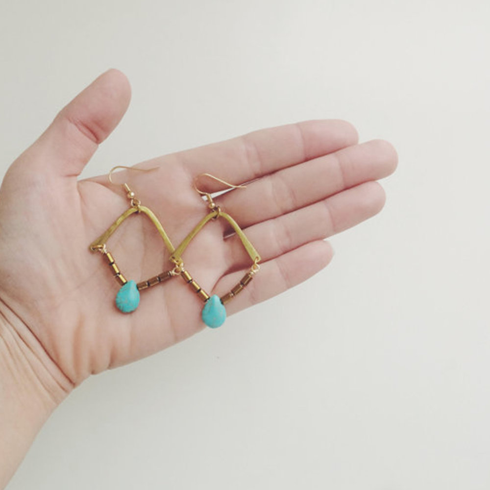 Mad Made Metals Turquoise Bohemian Earrings $48  @madmademetals  //  madmademetals.com
