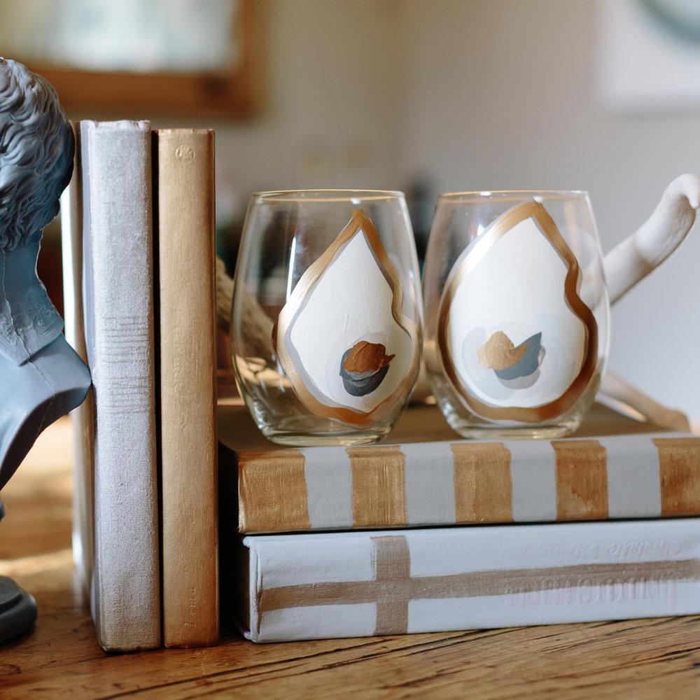 Sallie Bynum Art Stemless Oyster Wine Glasses, Set of 2 $24  @salliebynumanzelmo  //  sbynumart.etsy.com