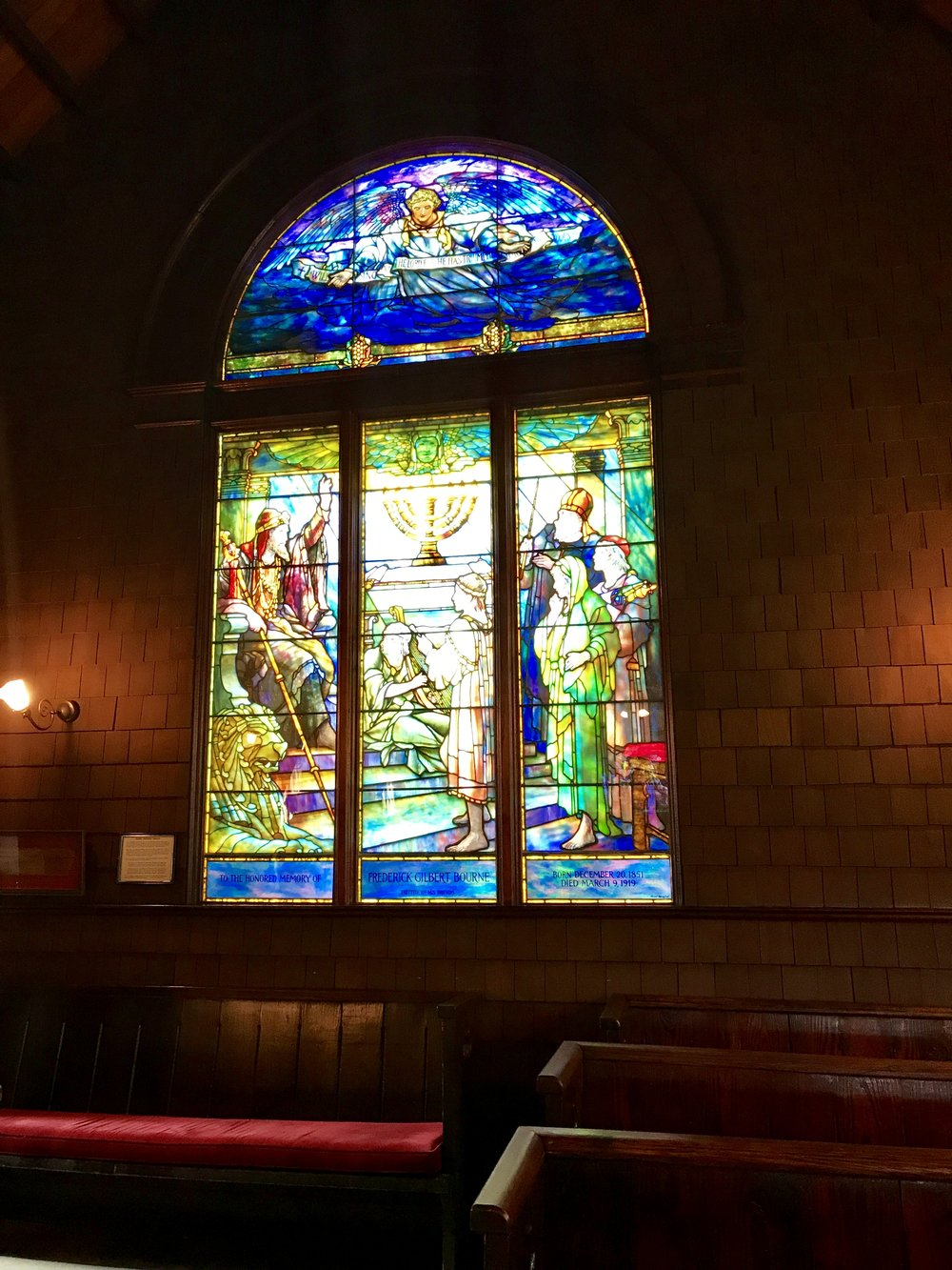 Signed Tiffany stained glass window, Faith Chapel