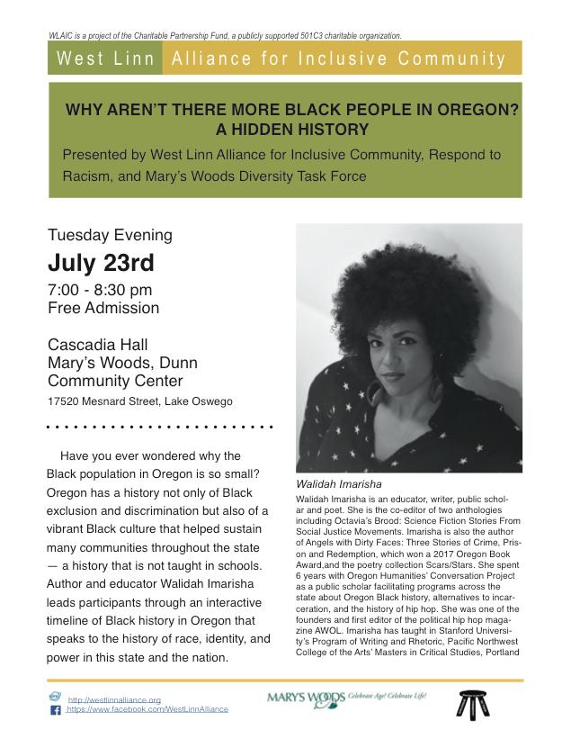 Oregon Black History in Lake Oswego — Walidah Imarisha