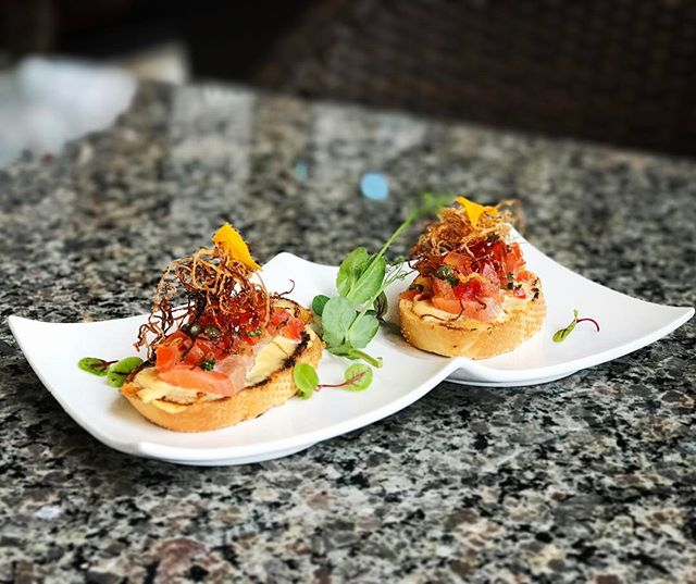 Another fine creation from the sushi bar that will have you craving for more! • Asian Bruschetta • uni-brie mousse, in-house smoked salmon, basil, tomato, olive oil, ikura, fried daikon, capers, truffle oil. $10