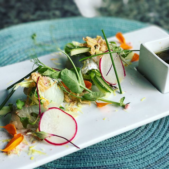 Chef Tim's Weekend Special!! Halibut Crudo • halibut sashimi rolled over Yuzu kosho, cucumber, shisho leaf and seaweed salad, topped with fried shallots, ume salt, chives, and lemon zest, side of Yuzu vinaigrette #UmiWinterPark #halibut #sashimi #crudo #seafood #special