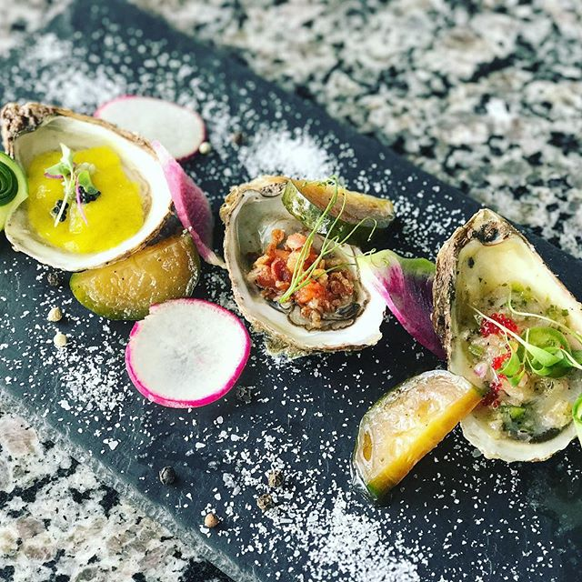 Tonight's Special • Oysters 3 Ways 3 Prince Edward Island Oyster (from left to right) * mango basil sorbet, caviar, kazami wasabi * kimchi + bacon * red tobiko, jalapeño, micro cilantro, asian pear granita  #UmiWinterPark #oysters #nationaloysterday #princeedwardisland #special