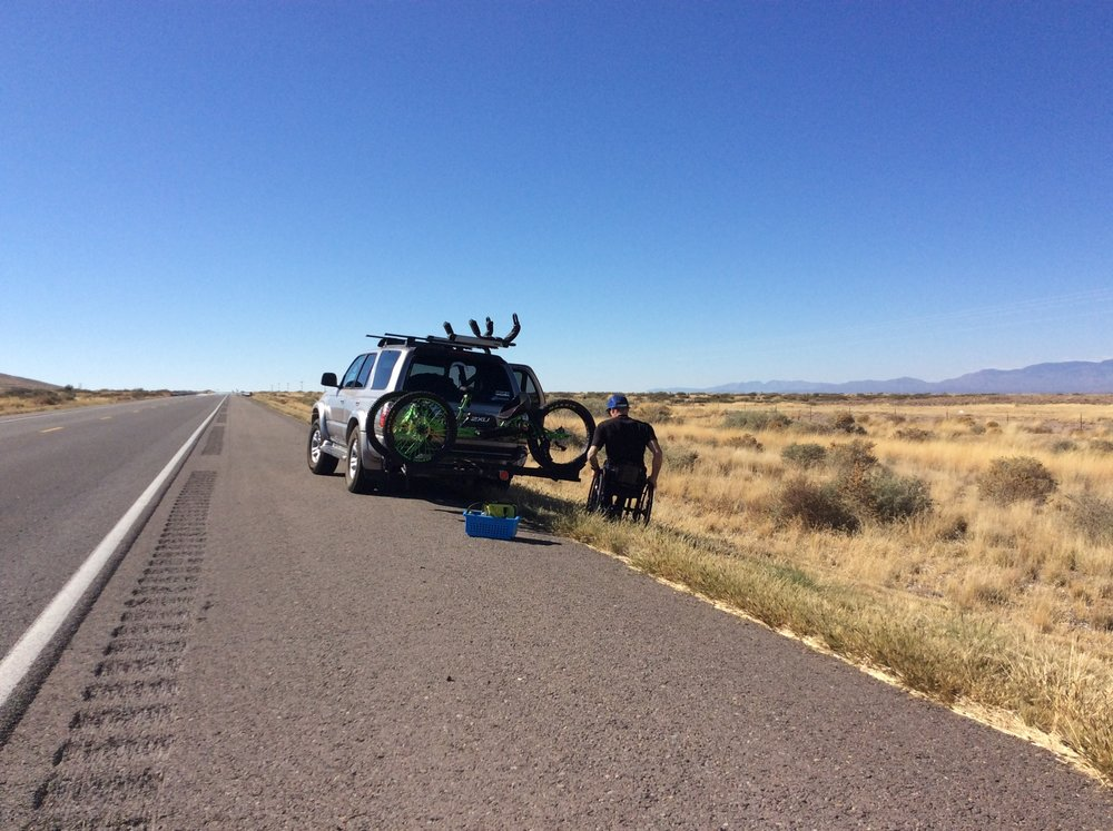 Fixing bike rack on the side of the road