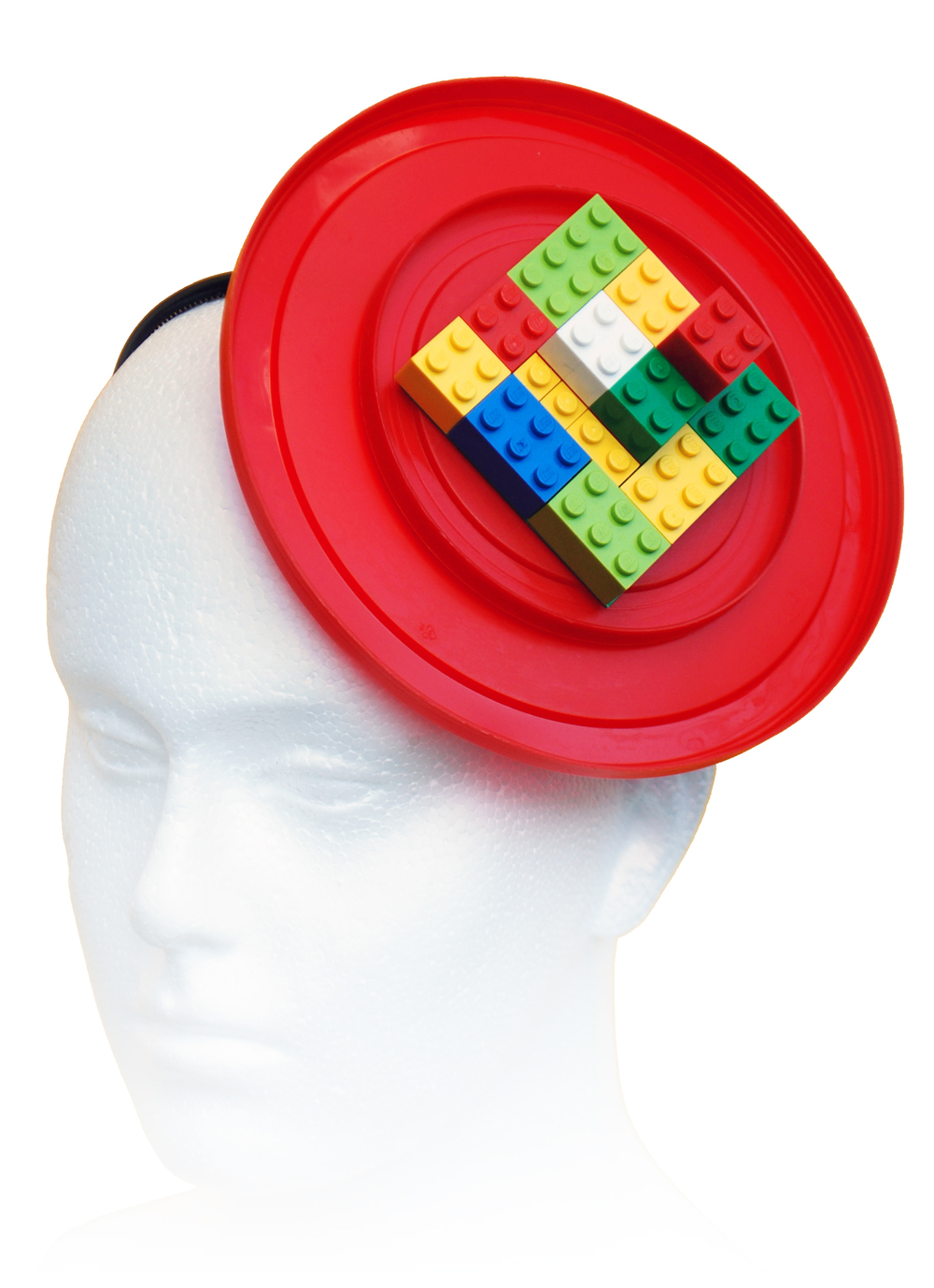 Plastic Seconds recycled lego and red plastic lids headpiece.jpg