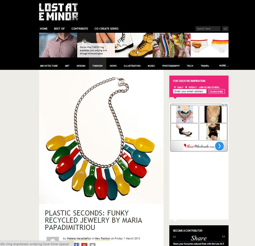 Plastic Seconds in  Lost at E Minor    http://www.lostateminor.com/2013/03/01/plastic-seconds-funky-recycled-jewelry/