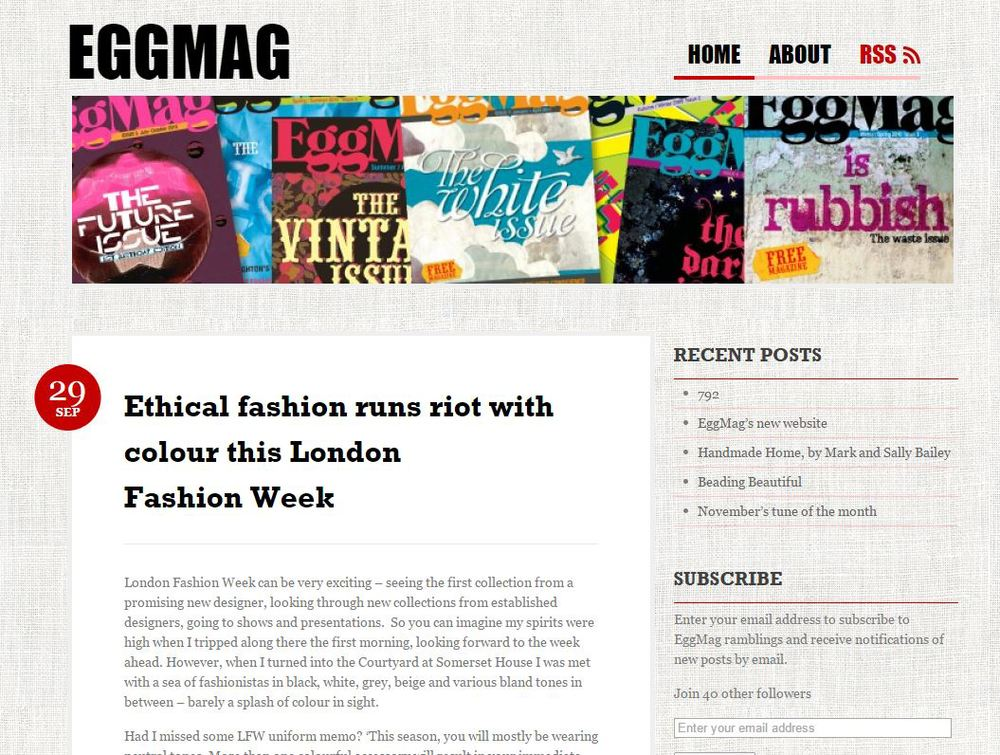 Plastic Seconds in  EGGMAG    https://eggmag.wordpress.com/2011/09/29/ethical-fashion-runs-riot-with-colour-this-london-fashion-week/