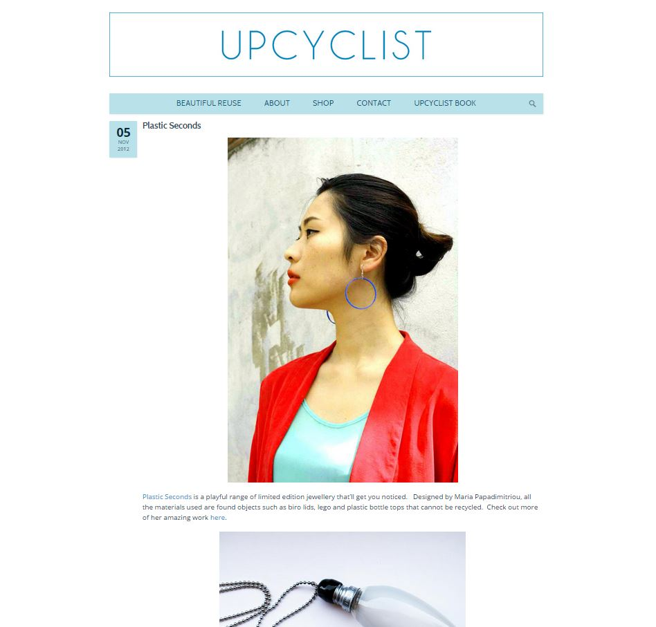 Plastic Seconds in  Upcyclist   http://www.upcyclist.co.uk/2012/11/plastic-seconds/