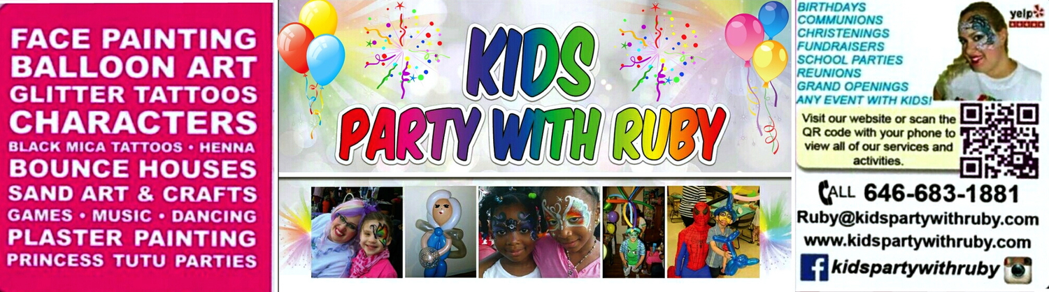 PARTY WITH RUBY Party Entertainment NYC Face Painter Balloon - Children's birthday venues nyc