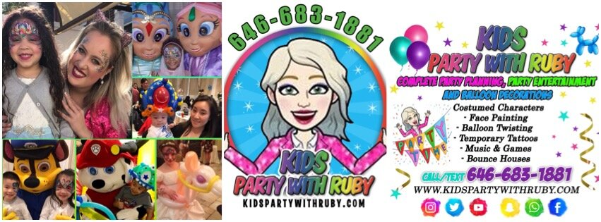 KIDS PARTY WITH RUBY, Party Entertainment NYC, Face Painter, Balloon Artist, Characters, Queens, Brooklyn, Manhattan, NY