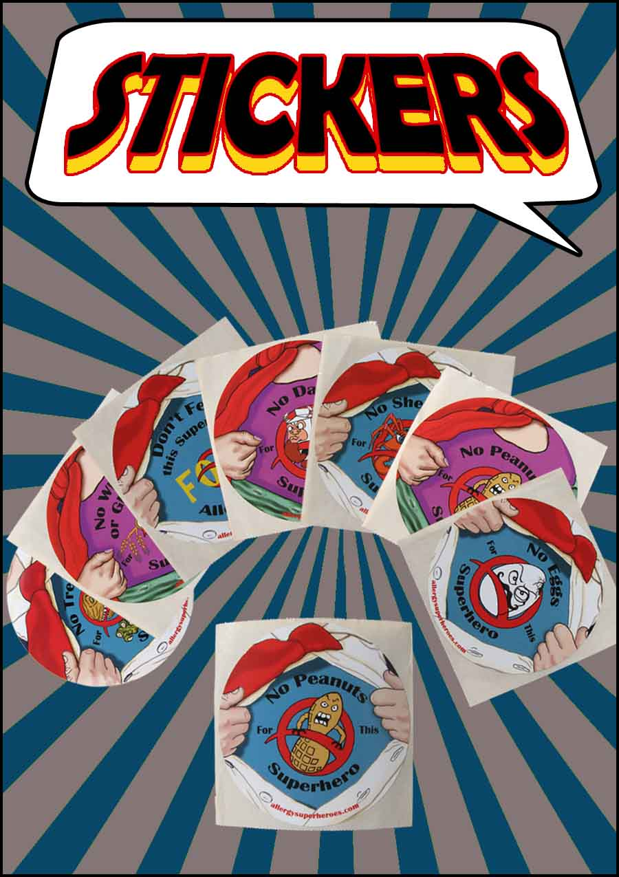 Allergy Superheroes Food Allergy Awareness Product Stickers