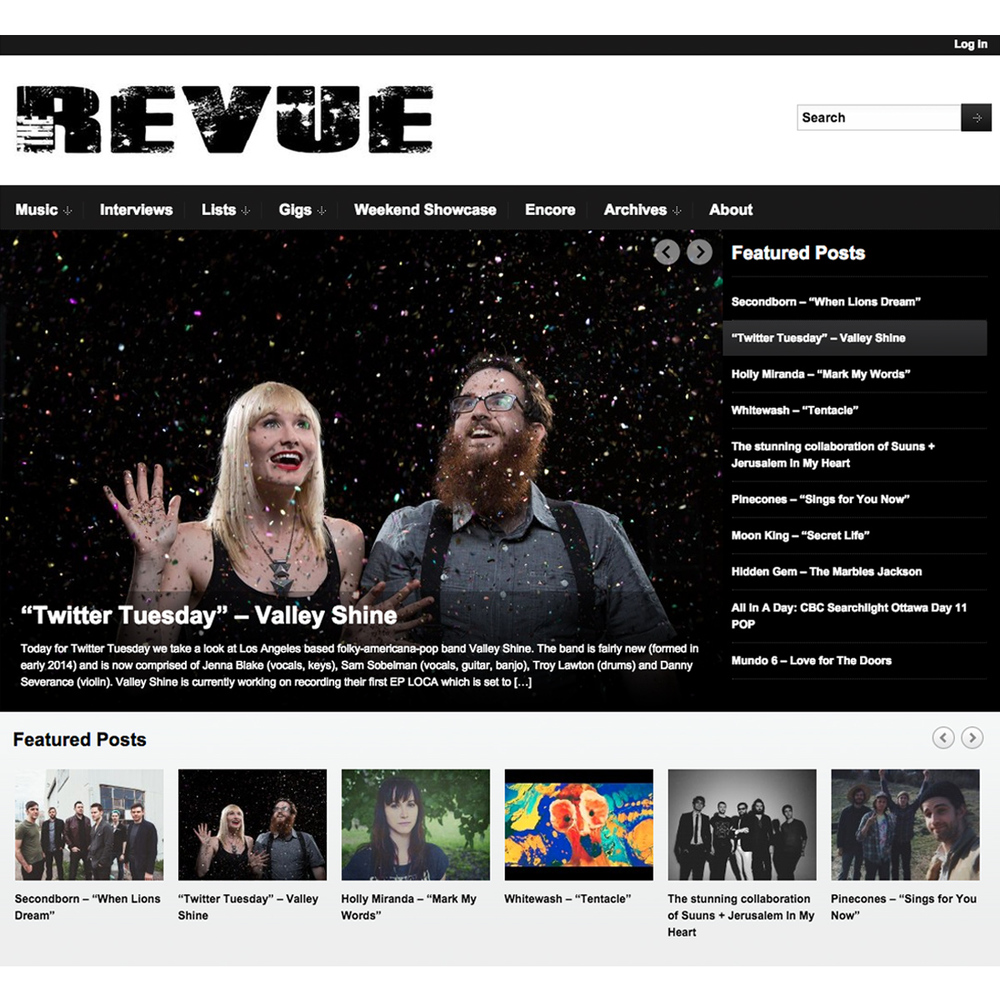 "Valley Shine chosen as ""Twitter Tuesday"" band by music blog  The Revue ."