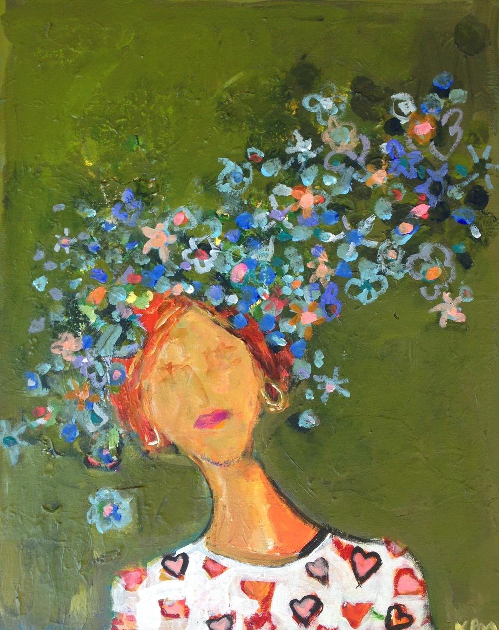 Hearts on My Blouse 16x20 acrylic on canvas