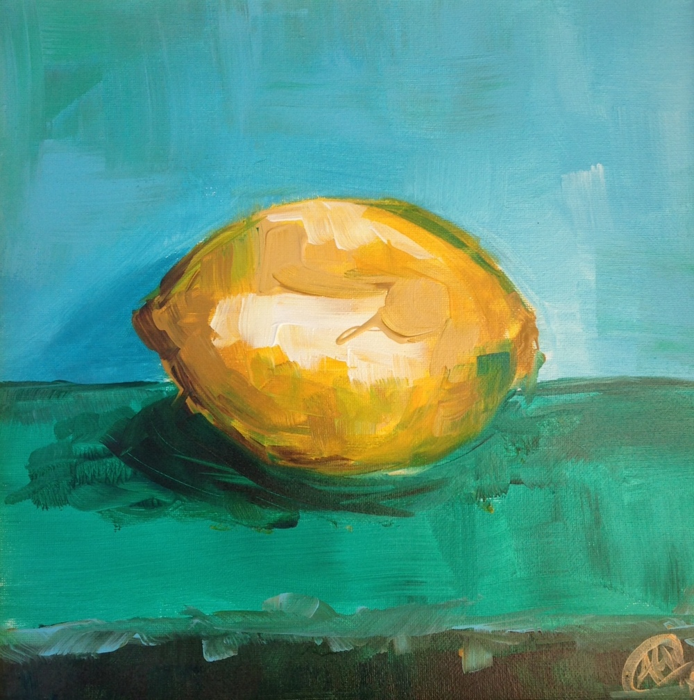 Solitaire Lemon   12x12 acrylic on canvas SOLD