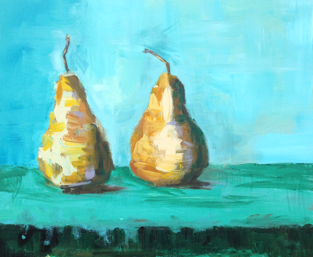Two Pear Study  24x20  acrylic on canvas SOLD