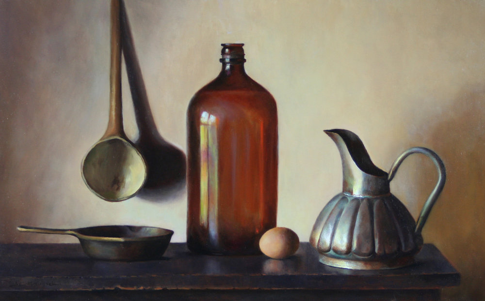 In Granny's Kitchen  16x26oil on linen