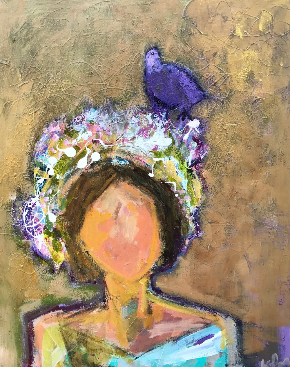 There's a Dove in My Hair 30x24 SOLD