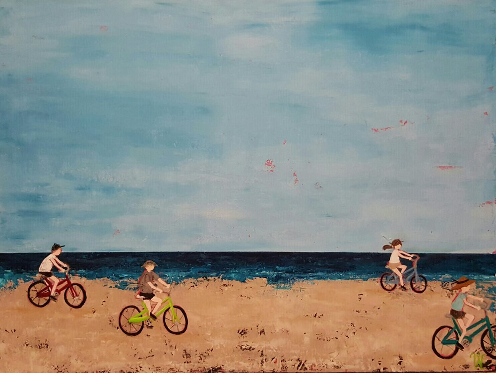 Cruising on the Beach 36x36 acrylic on canvas - available