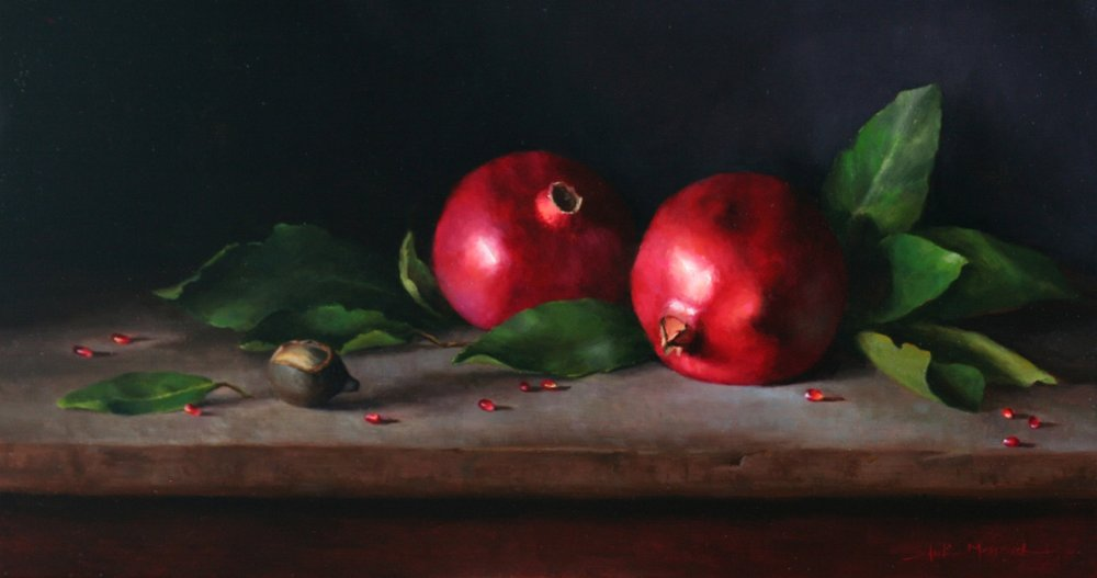 Two Pomegranates  11x20  oil on linen