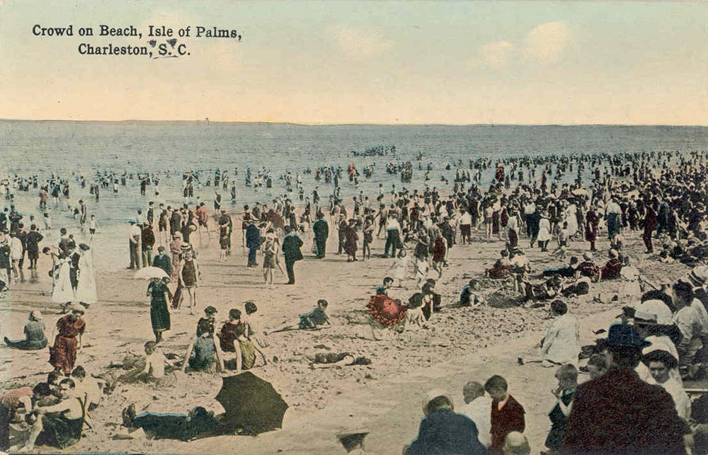 Vacationers enjoying the beach at the Isle of Palms circa 1915. In the first few decades of the 1900s, the island's dance pavilion was widely popular, attracting visitors from as far away as Georgia!